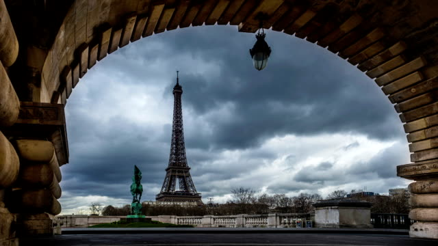 Time-lapse of Eiffel Tower seen through the Pont de Bir-Hakeim