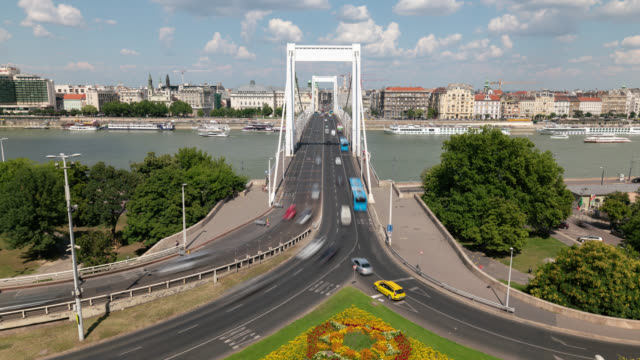 timelapse of elisabeth bridge in budapest - traditionally hungarian stock videos & royalty-free footage