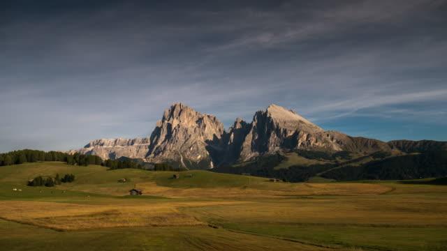 Time-lapse of european alps mountain , Alpe di siusi , dolomites , south tyrol , Italy