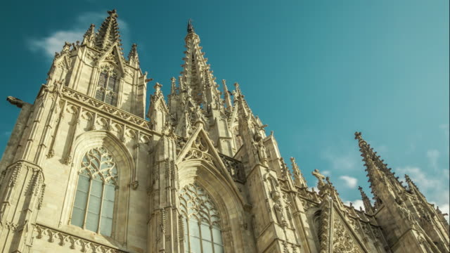 timelapse of facade of the cathedral. barcelona, spain. - gothic quarter barcelona stock videos and b-roll footage