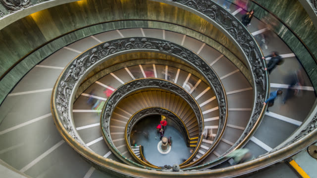 timelapse of famous vatican museum staircase. rome, italy. april, 2016. - museum stock videos & royalty-free footage