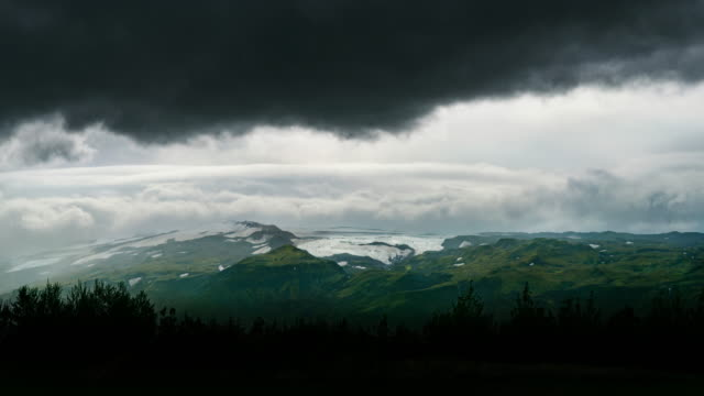 Time-lapse of fast moving clouds over Eyjafjallajokull or Eyjafjalla Glacier in Iceland