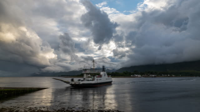 timelapse of ferry loading cars in scotland - ferry stock videos & royalty-free footage