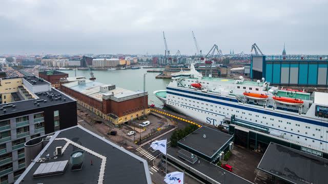 time-lapse of ferry port helsinki finland - harbour stock videos & royalty-free footage