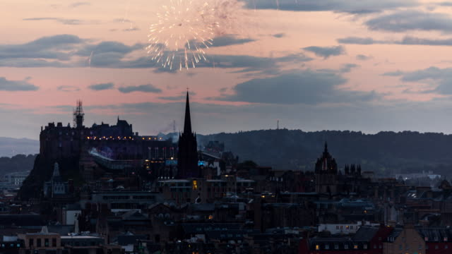 Timelapse of fireworks during the famous Edinburgh Festival at the castle and city skyline