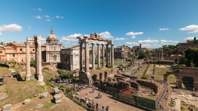 Timelapse of Foro Romano in a sunny day