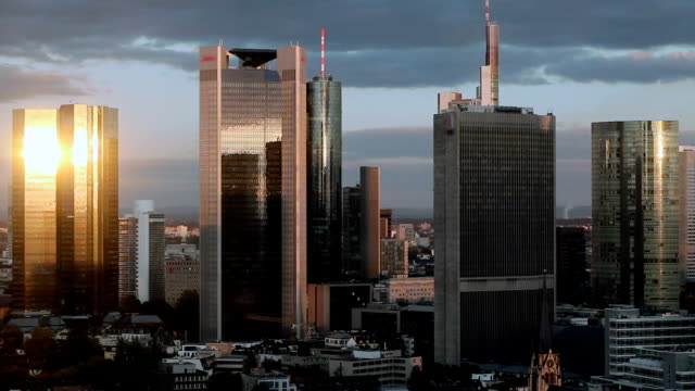 Timelapse of Frankfurt banking district Skyline at sunset