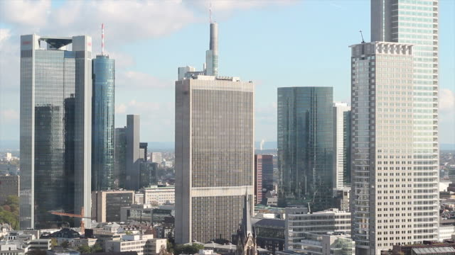 Timelapse of Frankfurt banking district Skyline
