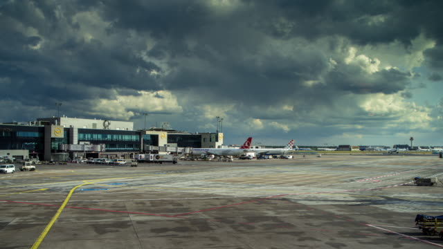 timelapse of frankfurt tarmac - stranded stock videos and b-roll footage