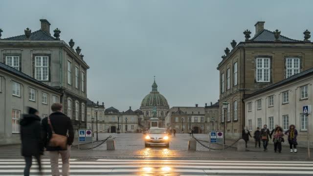 Zeitraffer der Frederik-Kirche am Amalienborg Stadtplatz Kopenhagen Dänemark
