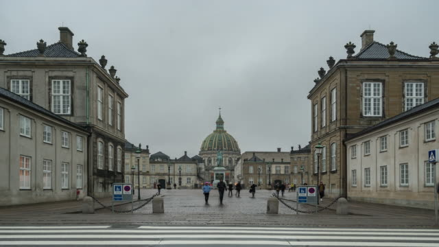 time-lapse of frederik's church at amalienborg town square copenhagen denmark - public building stock videos and b-roll footage