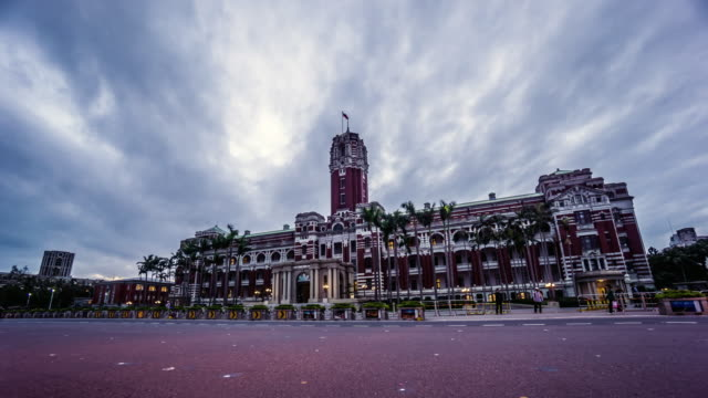 timelapse of front view of presidential office building in taipei, china - taipei stock videos & royalty-free footage