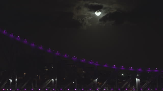 4K time-lapse of full moon with part of Brisbane Story Bridge
