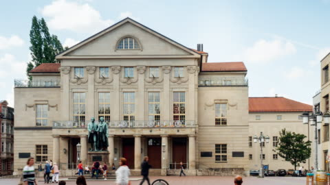timelapse of german national theater in weimar, germany - weimar stock videos & royalty-free footage