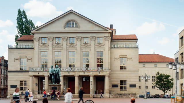 timelapse of german national theater in weimar, germany - weimar video stock e b–roll