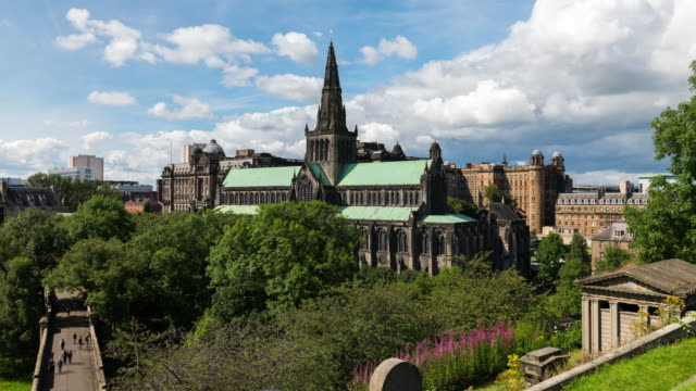 timelapse of glasgow cathedral - cathedral stock videos & royalty-free footage