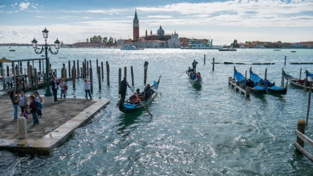 time-lapse of gondola in venice , veneto region , italy - grand canal venice stock videos & royalty-free footage