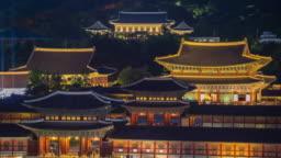 Timelapse of Gyeongbokgung Palace at Night in Seoul City,South Korea