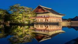 Timelapse of Gyeongbokgung Palace in Seoul City,South Korea