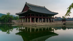 Timelapse of Gyeongbokgung Palace with blue sky and clouds at Seoul city, South Korea.