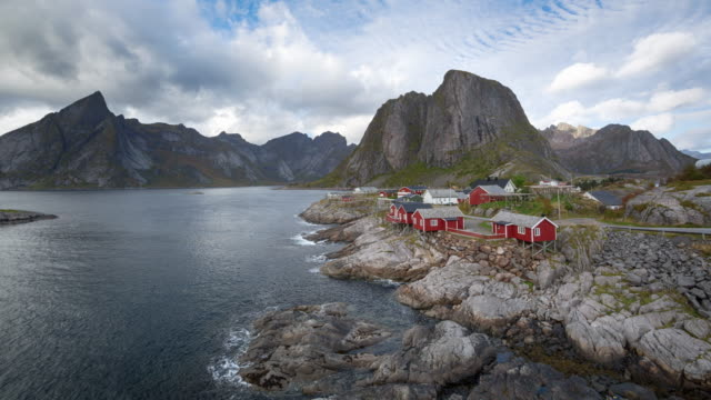 timelapse of hamnoy in lofoten, norway - nordland county stock videos & royalty-free footage