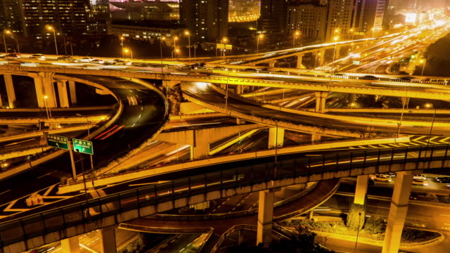 Timelapse of highway and traffic in Shanghai, China