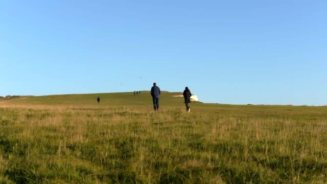 timelapse of hikers walking across chalk grassland, east sussex, eu. - イーストサセックス点の映像素材/bロール