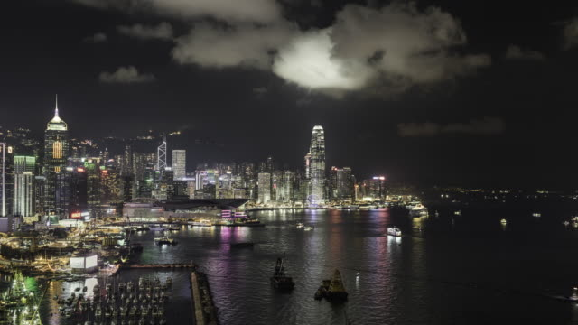 timelapse of Hong kong and Victoria Bay at night
