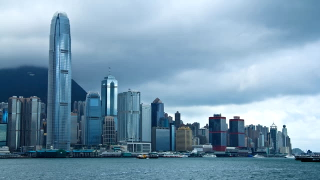 timelapse of hong kong island on overcast day - hong kong island stock videos & royalty-free footage