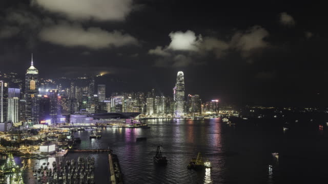 timelapse of Hong Kong skyline and Victoria Bay