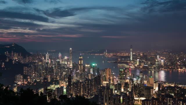 timelapse of Hong Kong skyline at dusk