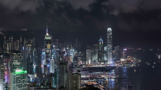 timelapse of Hong Kong skyline at night