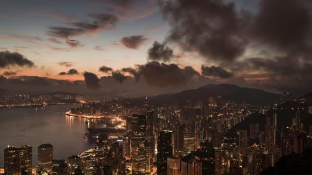 timelapse of Hong Kong skyline at sunrise