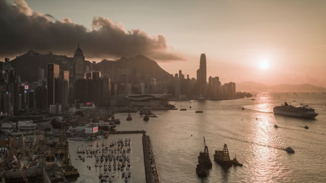 timelapse of Hong Kong skyline at sunset