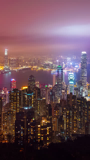 (vertical) time-lapse of hong kong skyscraper and cityscape in night time. - vertical stock videos & royalty-free footage