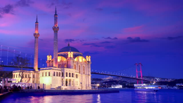 timelapse of istanbul bridge at dusk - ortakoy mosque stock videos and b-roll footage