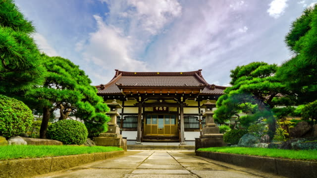 time-lapse of japanese garden temple - buddha stock videos & royalty-free footage