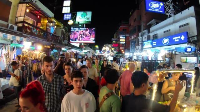 timelapse of khao san road during night in bangkok, thailand - bangkok stock videos & royalty-free footage