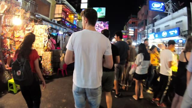 timelapse of khao san road during night in bangkok, thailand - thailand stock videos & royalty-free footage