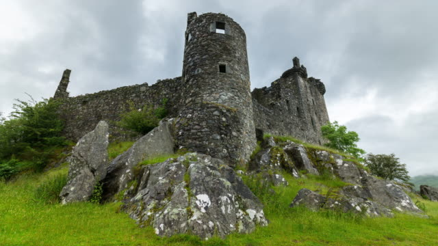 timelapse of kilchurn castle - scotland stock videos & royalty-free footage