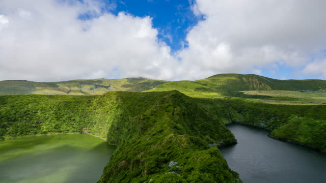 timelapse of lagoa funda and caldeira comprida , flores island , azores - reserva natural stock videos and b-roll footage
