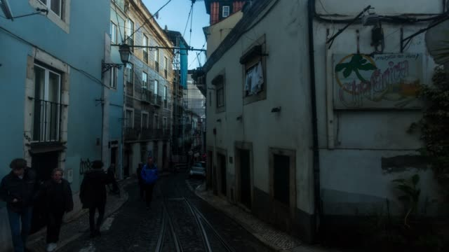 Timelapse of Lisbon street in a sunny day