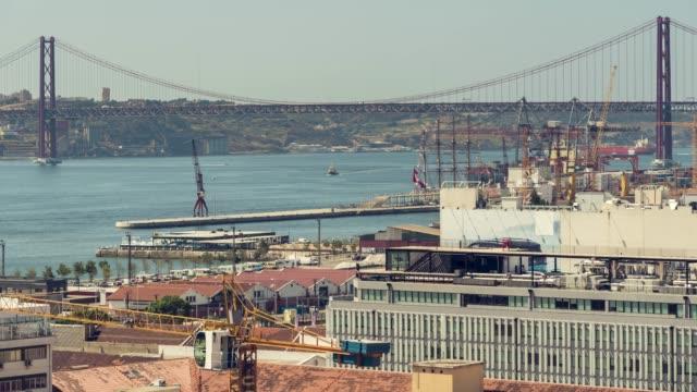 timelapse of lissabon bridge - ponte stock videos & royalty-free footage