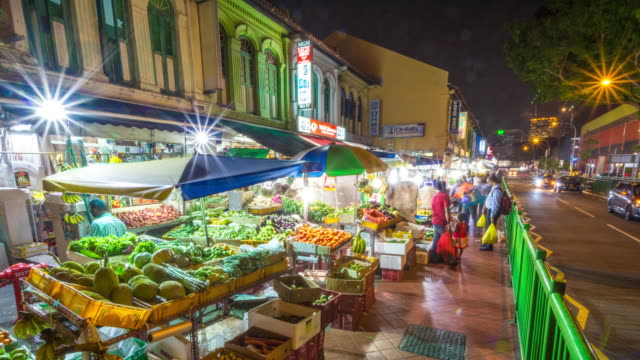 Timelapse of Little India Market at Night, Singapore
