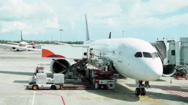 タイムラプスのローディングレッグサイド操作の旅客機 - 積荷を降ろす点の映像素材/bロール