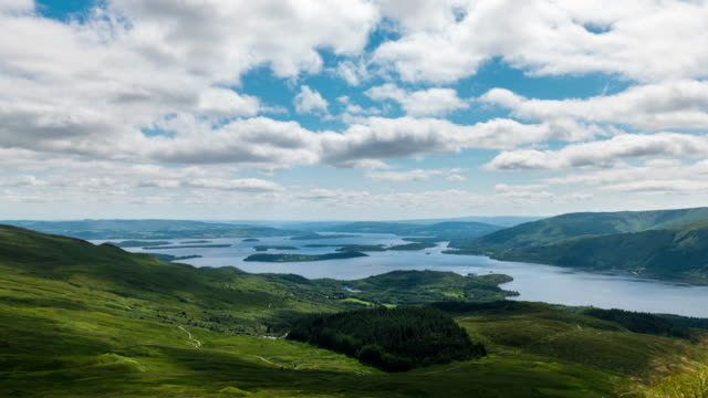 timelapse of loch lomond in scotland - ben lomond stock videos and b-roll footage