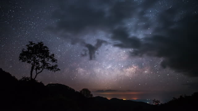 Timelapse of Lonely tree with milky way on the sunrise sky and cloudy