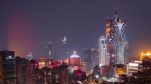 timelapse of macau, china city skyline at dusk. - località turistica video stock e b–roll