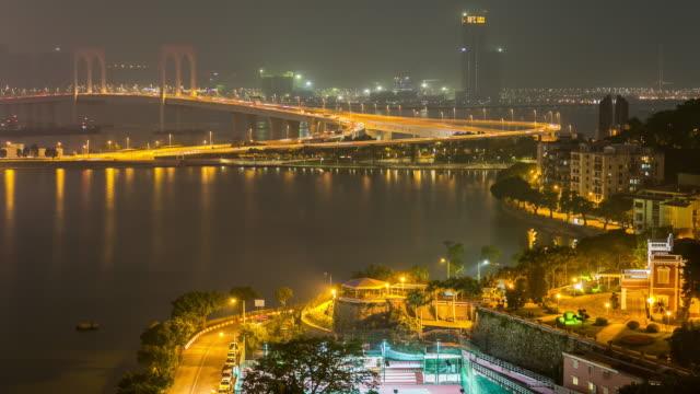 Time-lapse of Macau Pte. de San Van Bridge Macao China