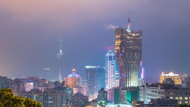 Time-lapse av Macau Skyline Flygfoto Macao Kina
